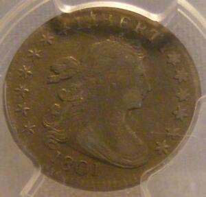 1801 DRAPED BUST DIME PCGS GENUINE; ENV. DAMAGE; VF DETAILS