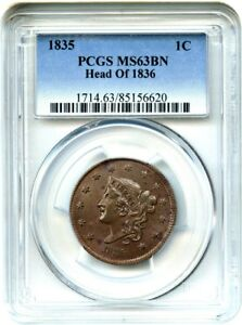 Click now to see the BUY IT NOW Price! 1835 1C PCGS MS63 BN  HEAD OF 1836  LUSTROUS LARGE CENT   LARGE CENT