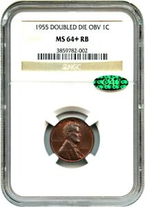 Click now to see the BUY IT NOW Price! 1955/1955 1C NGC/CAC MS64  RB  DOUBLED DIE OBV  LINCOLN CENT