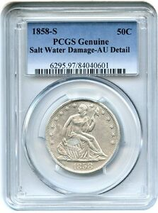 1858 S 50C PCGS AU DETAILS  SALT WATER DAMAGE  LIKELY SHIPWRECK RECOVERY