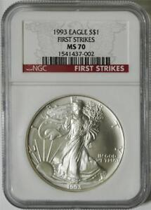 Click now to see the BUY IT NOW Price! 1993 $1 1 OZ AMERICAN SILVER EAGLE NGC MS 70 FIRST STRIKES  POP 1 COIN