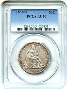1852 O 50C PCGS AU50    O MINT   LIBERTY SEATED HALF DOLLAR