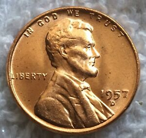 1957 D LINCOLN CENT UNC PULLED FROM OBW ROLL FROM OLD SAFE COLLECTION WOW