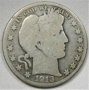 1913 S BARBER HALF DOLLAR GOOD COIN AE894