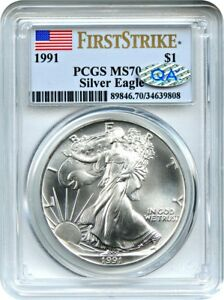 Click now to see the BUY IT NOW Price! 1991 SILVER EAGLE $1 PCGS MS70  FIRST STRIKE  POP 1    POP 1