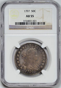 Click now to see the BUY IT NOW Price! 1797 DRAPED BUST 50C NGC AU 55