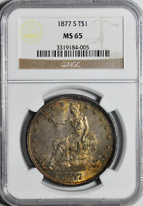 1877 S TRADE T$1 NGC MS 65