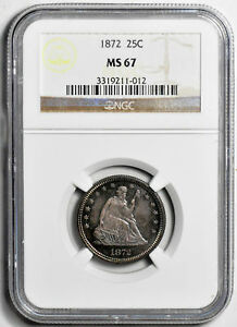 Click now to see the BUY IT NOW Price! 1872 LIBERTY SEATED 25C NGC MS 67