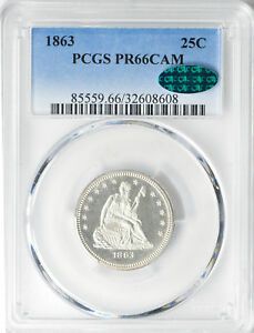 Click now to see the BUY IT NOW Price! 1863 LIBERTY SEATED 25C PCGS PR 66 CAM