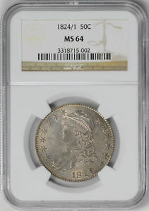 1824/1 CAPPED BUST 50C NGC MS 64
