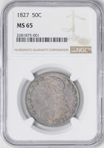 1827 CAPPED BUST 50C NGC MS 65