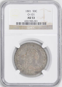 Click now to see the BUY IT NOW Price! 1801 DRAPED BUST 50C NGC AU 53
