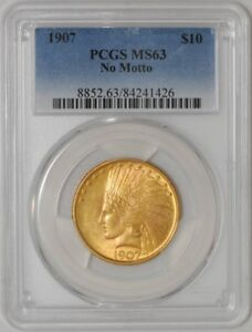 1907 $10 GOLD INDIAN NO MOTTO 84241426 MS63 PCGS