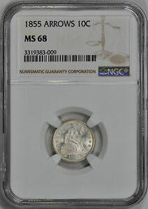 Click now to see the BUY IT NOW Price! 1855 LIBERTY SEATED 10C NGC MS 68