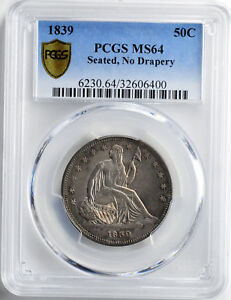 Click now to see the BUY IT NOW Price! 1839 LIBERTY SEATED 50C PCGS MS 64