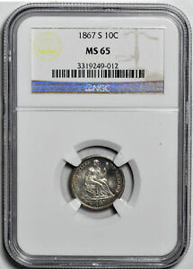 Click now to see the BUY IT NOW Price! 1867 S LIBERTY SEATED 10C NGC MS 65
