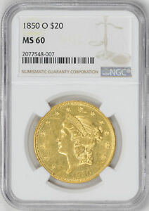 Click now to see the BUY IT NOW Price! 1850 O LIBERTY HEAD $20 NGC MS 60