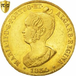 Click now to see the BUY IT NOW Price! [29984] PORTUGAL MARIA II PECA 6400 REIS 1834 GOLD KM:405 PCGS AU58