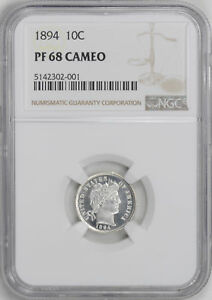 Click now to see the BUY IT NOW Price! 1894 BARBER 10C NGC PR 68 CAM