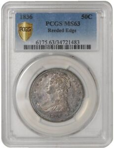 Click now to see the BUY IT NOW Price! 1836 CAPPED BUST HALF 50C REEDED EDGE 34721483 MS63 SECURE PLUS PCGS
