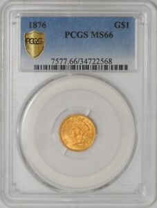 Click now to see the BUY IT NOW Price! 1876 $1 GOLD INDIAN DOLLAR 34722568 MS66 PCGS SECURE PLUS MINTAGE OF ONLY 3200