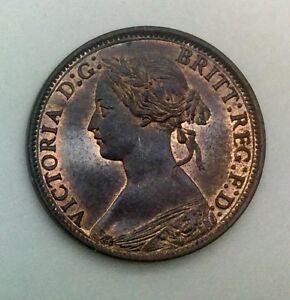 Click now to see the BUY IT NOW Price! 1866  GREAT BRITAIN YOUNG HEAD FARTHING QUEEN VICTORIA  RED BROWN UNC STUNNING