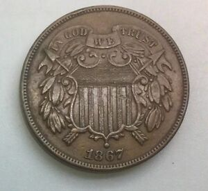 Click now to see the BUY IT NOW Price! 1867    TWO CENTS  PLEASING  GRADE NICE COIN MID BROWN SHARP DEVICES