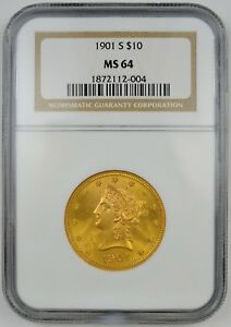 1901 S $10 GOLD CORONET HEAD EAGLE NEW STYLE WITH MOTTO NGC MS64