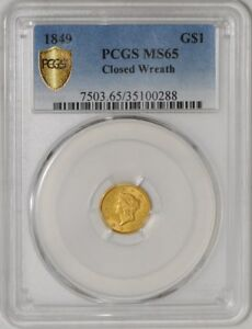 Click now to see the BUY IT NOW Price! 1849 $ GOLD LIBERTY DOLLAR CLOSED WREATH 35100288 MS65 SECURE PLUS PCGS