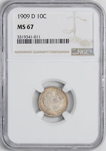 Click now to see the BUY IT NOW Price! 1909 D BARBER 10C NGC MS 67