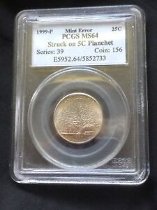Click now to see the BUY IT NOW Price! CONNECTICUT QUARTER STRUCK ON NICKEL  5 CENT  PLANCHET   PCGS MS 64.