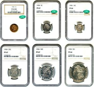 Click now to see the BUY IT NOW Price! 1904 PR SET NGC/CAC PR 64 67  6 COINS   PROOF SET    PROOF SET