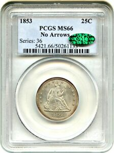 Click now to see the BUY IT NOW Price! 1853/53 25C PCGS/CAC MS66  NO ARROWS  LIBERTY SEATED QUARTER