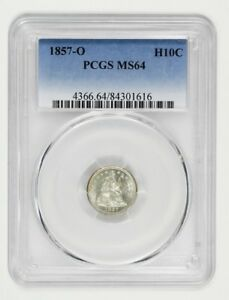1857 O H10C PCGS MS64   FROSTY TYPE COIN   SEATED HALF DIME   FROSTY TYPE COIN
