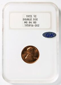 1972 DOUBLED DIE DDO LINCOLN 1 CENT NGC MS64RD  RED  QA