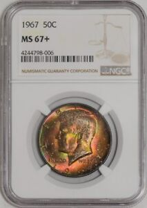 Click now to see the BUY IT NOW Price! 1967 KENNEDY HALF 50C MS67  COLOR NGC