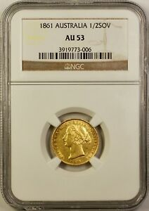 Click now to see the BUY IT NOW Price! 1861 S AUSTRALIA 1/2 HALF SOVEREIGN GOLD COIN NGC AU 53 SYDNEY MINT