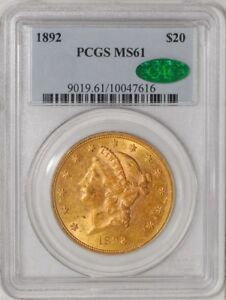 Click now to see the BUY IT NOW Price! 1892 $20 GOLD LIBERTY 10047616 MS61 PCGS   CAC