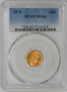 Click now to see the BUY IT NOW Price! 1870 $ GOLD INDIAN DOLLAR 35366529 MS66 PCGS