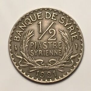 Click now to see the BUY IT NOW Price! 1921 A  SYRIA 1/2 PIASTRE COPPER NICKEL LOVELY KM 68 XF