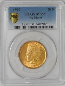 Click now to see the BUY IT NOW Price! 1907 $10 GOLD INDIAN NO MOTTO 938689 4 MS63 SECURE PLUS PCGS