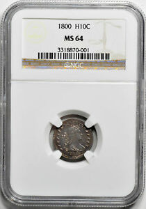 1800 DRAPED BUST H10C NGC MS 64
