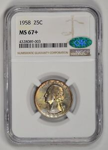 Click now to see the BUY IT NOW Price! 1958 WASHINGTON QUARTER TONED NGC MS67  PLUS CAC ONLY 1 FINER 25 IN REGISTRY