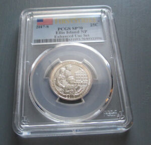 2017 S FIRST STRIKE PCGS SP70 NATIONAL PARK QUARTER ENHANCED UNC. ELLIS ISLAND