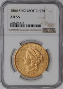 Click now to see the BUY IT NOW Price! 1866 S $20 GOLD LIBERTY NO MOTTO 938559 4 AU55 NGC