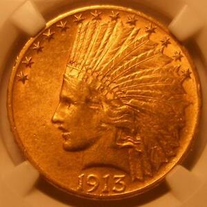 ALMOST UNCIRCULATED 1913 S $10 INDIAN NGC AU 58