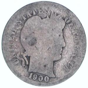 1900 S BARBER DIME 90  SILVER ABOUT GOOD AG