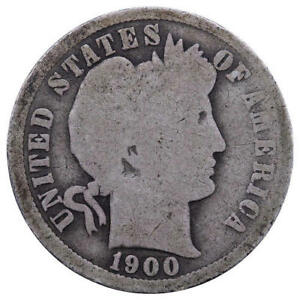 1900 O BARBER DIME 90  SILVER ABOUT GOOD AG