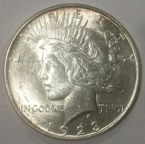 Click now to see the BUY IT NOW Price! 1923 D  PEACE DOLLAR  NICE ORIGINAL COIN FLASHY CARTWHEEL LUSTRE
