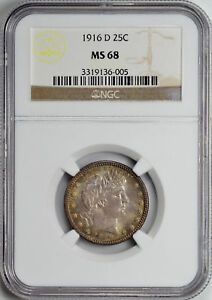Click now to see the BUY IT NOW Price! 1916 D BARBER 25C NGC MS 68